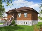 Одноэтажный дом с подвалом и террасой